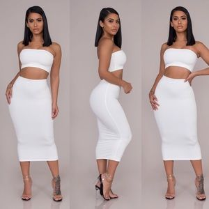 Dresses & Skirts - Brie Double Layered Tube Set-White